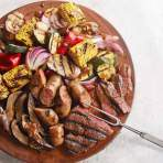 Mixed Grill with Balsamic-Mustard Vegetables Recipe