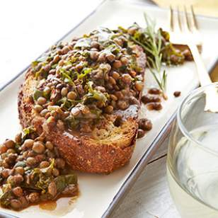 Rosemary Lentils & Greens on Toasted Bread Recipe