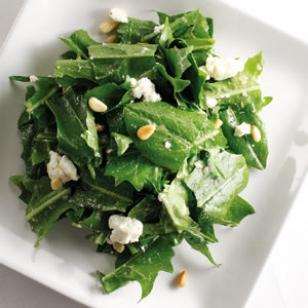 Warm Dandelion Greens with Roasted Garlic Dressing Recipe