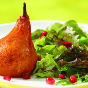 Roasted Pear & Arugula Salad with Pomegranate-Chipotle Vinaigrette